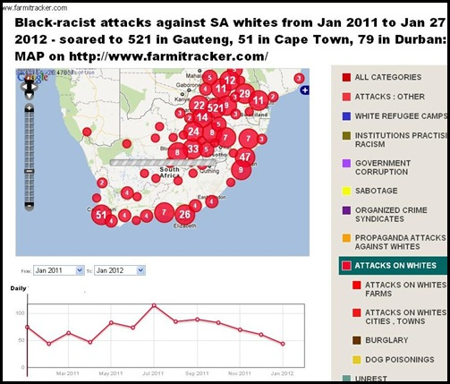 BLACKRACIST ATTACKS AGAINST SA WHITES MAP FARMITRACKER COM JAN 2011 TO JAN 27 2012