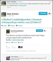 Black Racist threat to white girl by Itumeleng MabebaStumyZAM_HOPE YOU GET RAPED WITH BROKEN BEER BOTTLE