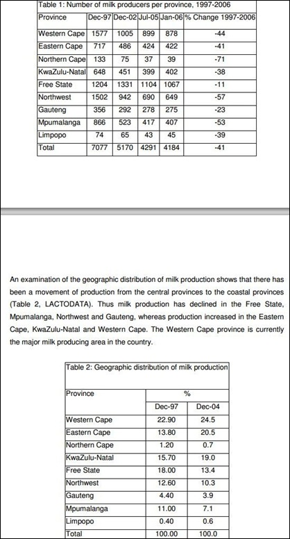 DAIRY FARMERS SA MILK PRODUCERS NUMBERS FAO REPORT WILLIAM GERTENBACH TABLES