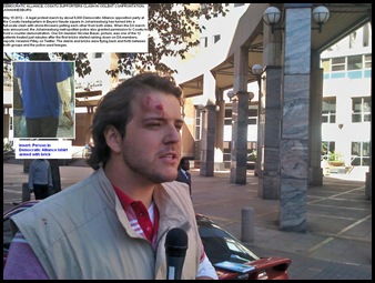 Democratic Alliance march May 15 2012 Cosatu house Nicholaus Bauer injured by brick PIC BY PHILIP DE WET MG