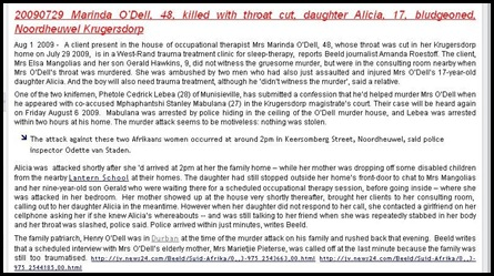 ODELL NOORDHEUWEL KRUGERSDORP 20090727 MARINDA O_DELL THROAT CUT DAUGHTER ALICIA 17 BLUDGEONED TO DEATH