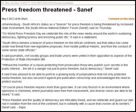 PRESS FREEDOM IN SOUTH AFRICA THREATENED SANEF MAY 3 2012