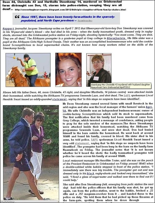 Steenkamp Deon Christelle daughter 14 murdered Griekwastad Apr72012 COMBINED STORY