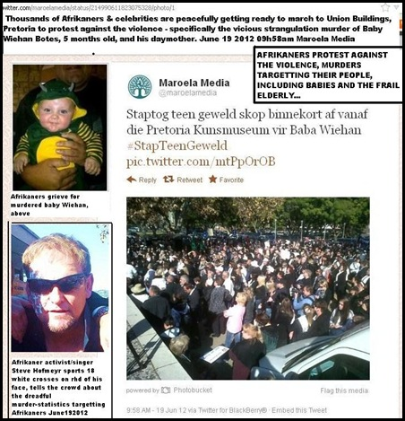 AFRIKANERS MARCH AGAINST VIOLENCE PRETORIA JUNE 19 2012 UNION BUILDINGS BY THOUSANDS
