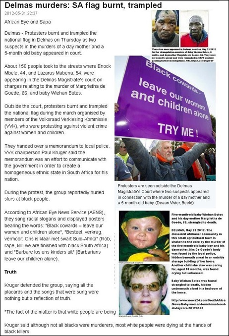 BOTES DE GOEDE MURDERS DELMAS protest BlackCowardsLeaveOurWomenAndChildrenAloneTryMe Baby Botes MargrietaDeGoedeMurders PAUL KRUGER