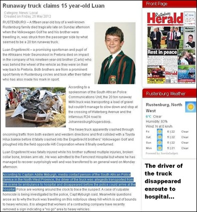 ENGELBRECHT LUAN 15 murdered by runaway gravel truck MAY 21 2012