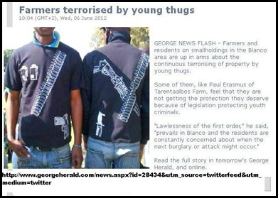 George farmers and smallholders Blanco terrified by constant terror campaign by young black gangs demand SAPS protection JUne62012