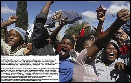Kill Boer protesters supporting allgd murderers of EugeneTerreBlanche ventersdorp