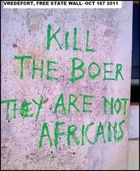 kill the Boers they are NOT AFRICANS Vredefort Free State graffiti Oct162011