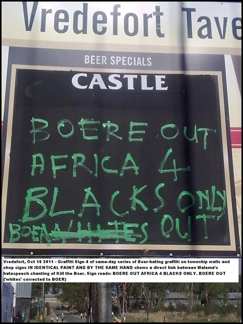 Kill the Boer VREDEFORT BOERE OUT AFRICA 4 BLACKS ONLY OCT 16 2011 GRAFFITI