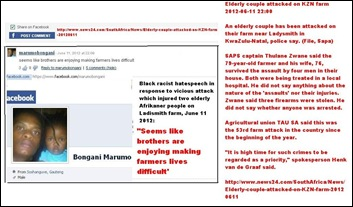 AFRIKAANS FARM COUPLE ATTACKED LADISMITH KZN JUNE11 2012 HATESPEECH BY MARUMO BONGANI