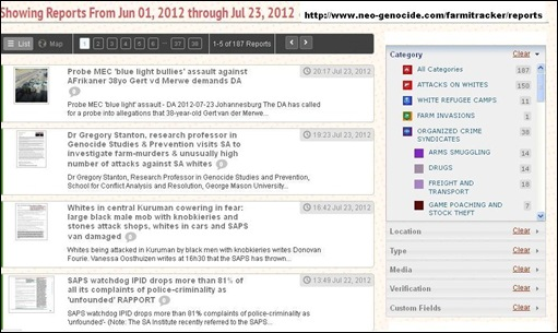 Farmitracker June 1 2012 to July 23 2012 total 150 attacks against whites