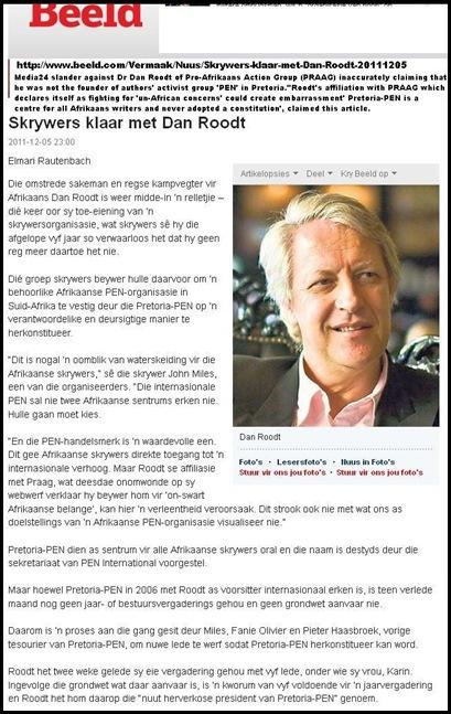 ROODT BEELD MEDIA 24 SLANDER SKRYWERS IS KLAAR MET ROODT MEDIA24 LIES ABOUT ROODT NOT BEING PEN CHAIRMAN