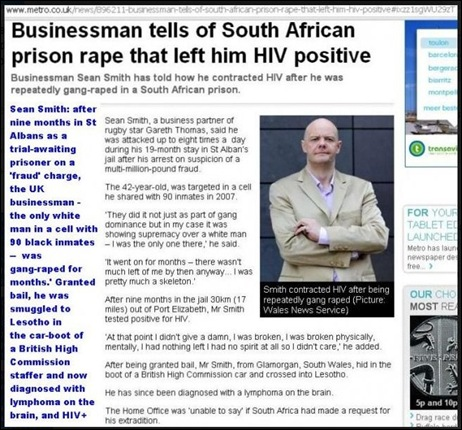 SMITH SEAN White UK businessman Sean Smith only WHITE man in cell with 90 blacks repeatedly gang raped in SA StAlbans prison now dying of AIDS