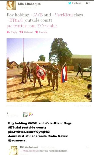 VENTERSDORP JUNE182012 YOUNG AFRIKANERS DISPLAY AWB FLAG AT VENTERSDORP SENTENCING OF EUGENE TERREBLANCHE KILLER