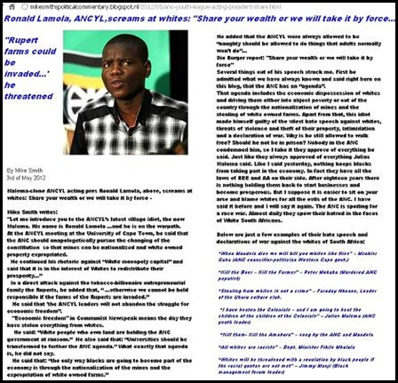 ANC HATESPEECH RONALD LAMOLA GIVE ALL WHITE PROPERTY OR WE WILL TAKE IT BY FORCE MAY 3 2012 UWC MIKE SMITH
