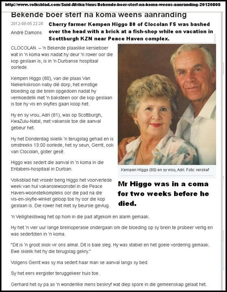 HIGGO Kempen 80 cherry farmer of Clocolan FS bashed to death at Durban fish shop Aug 6 2012