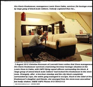 KOEKEMOER hostage Sabie Lowveld Aug 3 2012