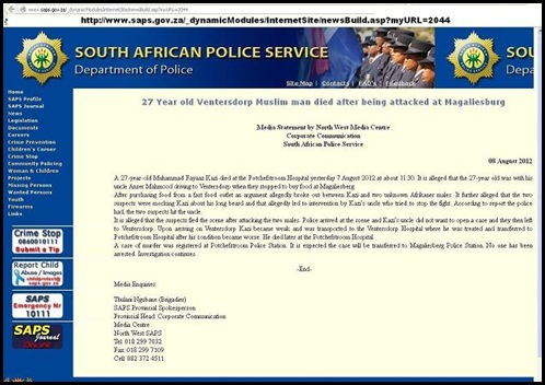magaliesburg muslim man beaten to death SAPS STATEMEMT 2 Afrikaner males