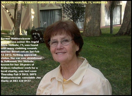 Niebuhr Ingrid Anna 71 murdered Wakkerstroom Feb 8 2012 family Brisbane Queensland Australia