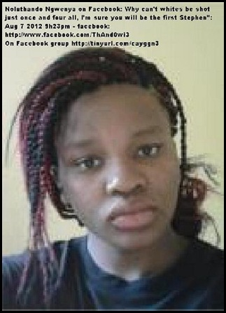 NOLUTHANDO NGWENYA ANC HATESPEECH FACEBOOK AUG 7 2012