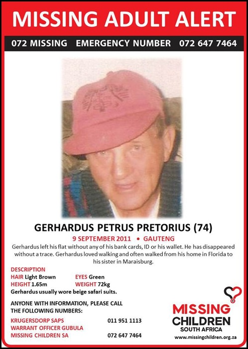 Pretorius Gerhardus Petrus 74 missing since 9 Sept 2011 Maraisburg or Florida GAUTENG