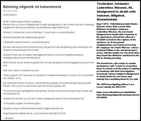 Wiesner Johannes Ludewikus toolmaker killed hammer JUly 22 2012 Wilgehof Bloemfontein