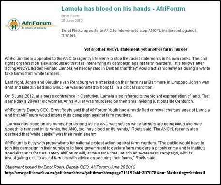 ANC LAMOLA BLOOD ON HANDS WAR DECLARATION AGAINST FARMERS AFRIFORUM STATEMENT BLOOD ON HANDS JUNE20 2012 ERNST ROETS