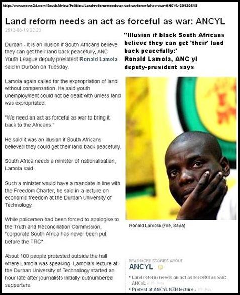 ANC yl Ronald Lamola LAND REFORM NEEDS ACT OF WAR