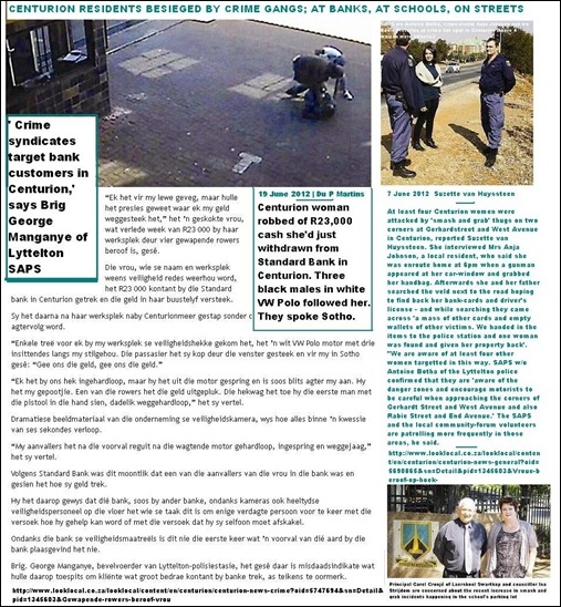 Centurion residents cannot be safe even when withdrawing cash from local Standard Bank June 19 2012