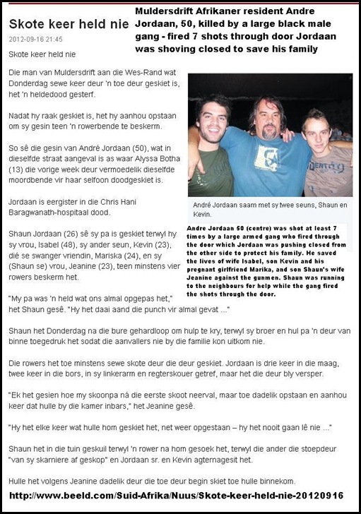 Jordaan Andre dead shot through closed door trying to defend family from huge black male gang SEPT132012