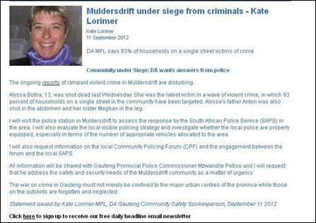 MULDERSDRIFT AREA UNDER SIEGE WARNS POLITICIAN SEPT 11 2012