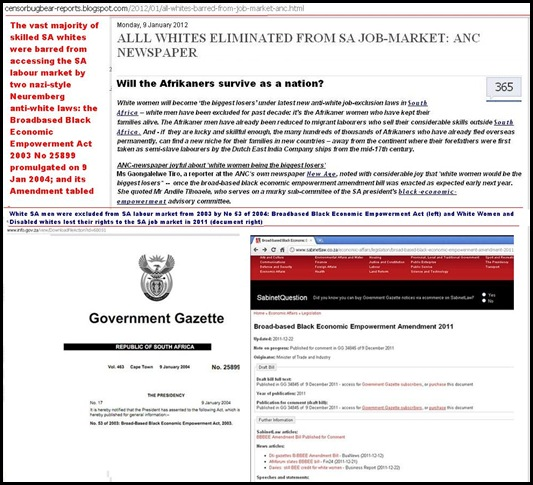 WHITES ALL BARRED FROM SA LABOUR MARKET 9 JAN 2012