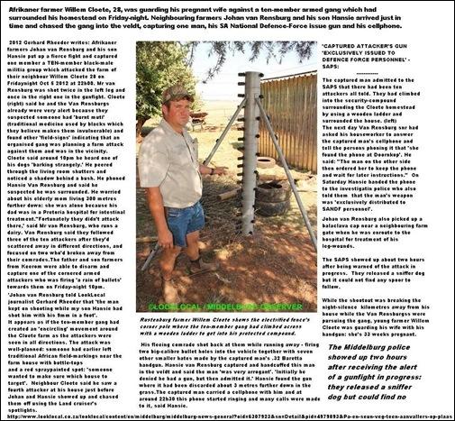 CLOETE Willem Middelburg farmer FridayOCT52012 MILITIA attack ten black males one captured
