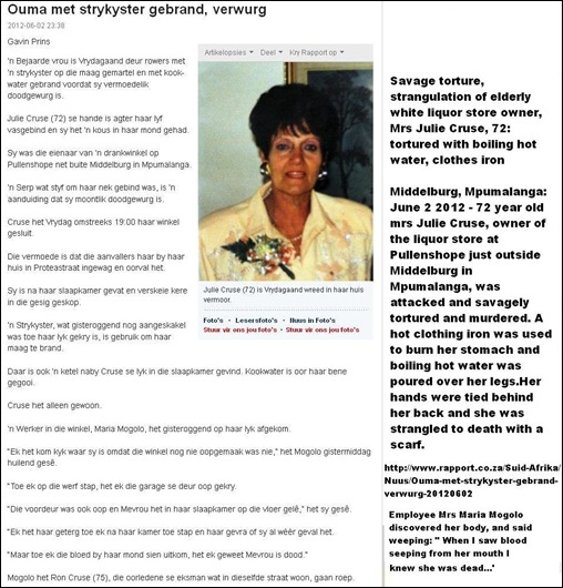 CRUSE Julie 72 tortured with boiling water hot iron strangled to death Middelburg Pullens Hope Mpuma June12012