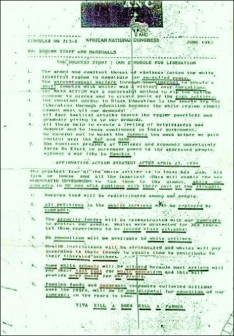 KILL BOER KILL FARMER ORDERS BY ANC DOCUMENT