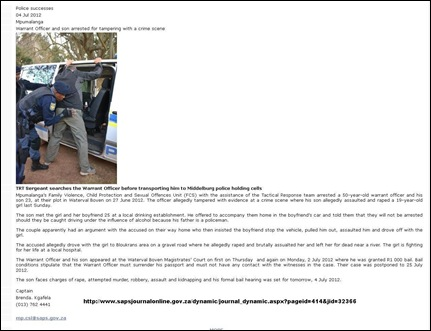 MIDDELBURG AFRIKANER WO AND SON ARRESTED FOR TAMPERING WITH CRIME SCENE 4 JULY 2012