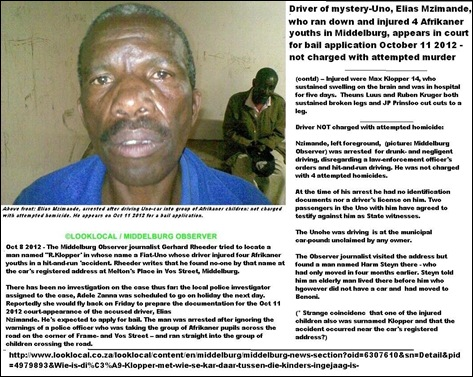 MIDDELBURG FOUR AFRIKANER BOYS INJURED HIT RUN DRIVER OCT1120122 COURTDATE