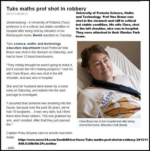 BRAUN Clare Pretoria News and Prof Max husband attacked injured ELARDUS PARK HOME