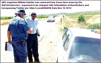 DE DOORNS anc organiser WILLIAM KAMFER ARRESTED NOV 162012 CERES FOR INTIMIDATING NONSTRIKING WORKERS
