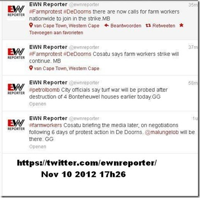 DE DOORNS COSATU CALLS ON FARMWORKERS NATIONWIDE TO STRIKE NOV102012