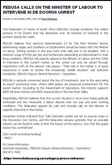 De Doorns FEDUSA CALLS FOR LABOUR MINISTER WAGE TALKS INVOLVEMENT