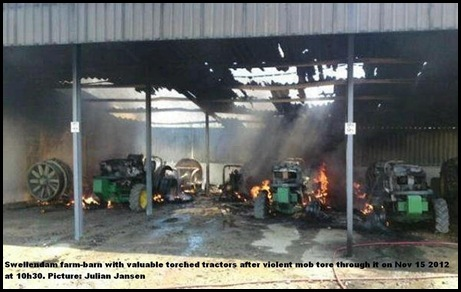 DE DOORNS SWELLENDAM FARM BARN TORCHED TRACTORS NOV15  JULIAN JANSEN