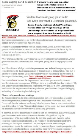 Farms WC must expert more violence from Dec 4 2012 LANDBOU