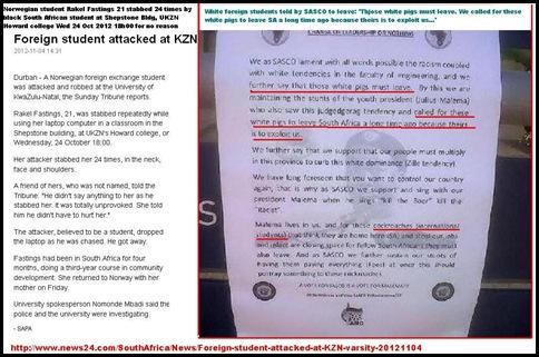 NORWEGIAN student Rakel Fastings 21 stabbed 24 times by black student KZN Oct24 2012