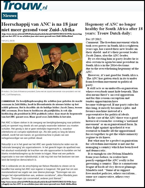 ANC HEGEMONY NOT HEALTHY FOR SA TROUW DEC 12 2012