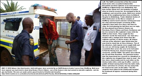 LICHTHELM LIESBETH TWO OF HER FARM ATTACKERS ARRESTED BY SAPS TRADERS FARMERS POSSE DEC 11 2012