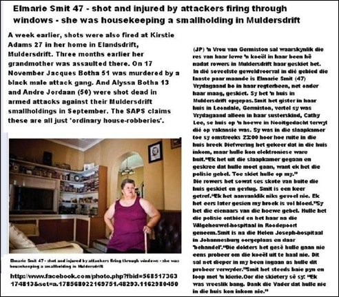 SMIT ELMARIE 47 SHOT INJURED WHILE HOUSESITTING MULDERSDRIFT SMALLHOLDING DEC 16 2012