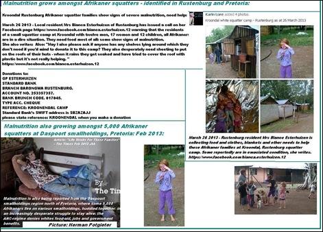 AFRIKANER SQUATTER CAMP KROONDAL RUSTENBURG MAR26 2013 APPEAL