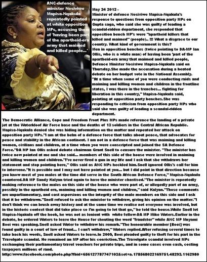 ANChatespeechDefenceMinisterAccusesWhiteMPsOfKillingMaimingMenWomenChildrenMay242013